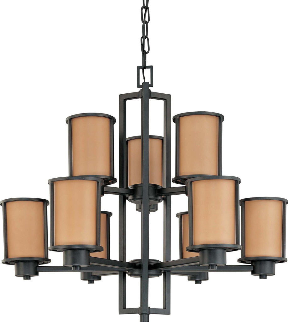 Nuvo Odeon ES - 9 Light Chandelier w/ Parchment Glass - (9) 13w GU24 Lamps Included