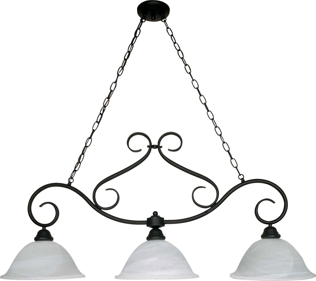Nuvo Castillo - 3 Light - 44 inch - Trestle - w/ Alabaster Swirl Glass