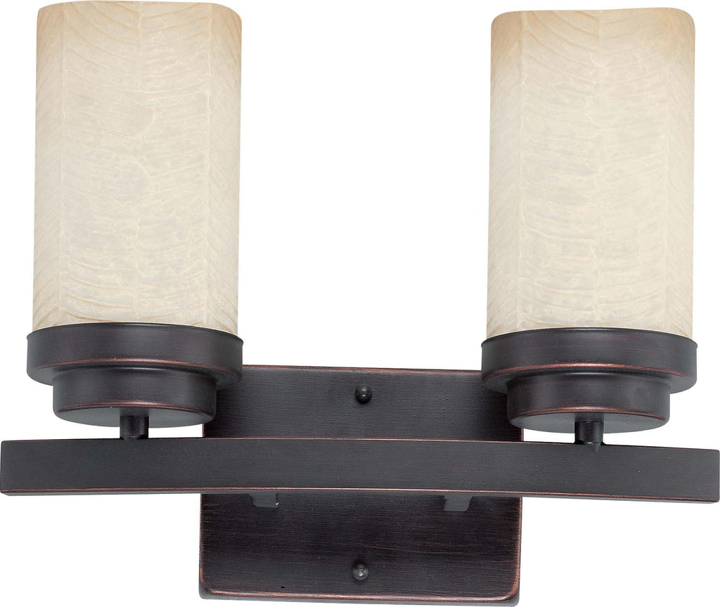 Nuvo Lucern ES - 2 Light Vanity w/ Saddle Stone Glass - (2) 13w GU24 Lamps Included
