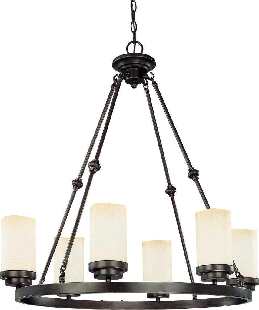 Nuvo Lucern ES - 6 Light 26 inch Oval w/ Saddle Stone Glass - (6) 13w GU24 Lamps Included