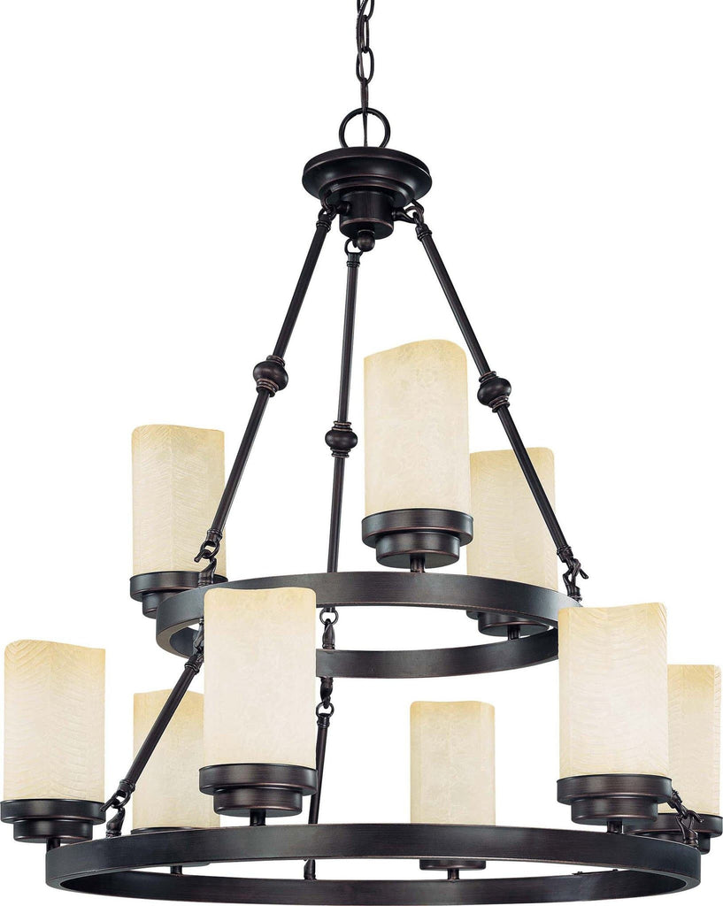 Nuvo Lucern ES - 9 Light Chandelier w/ Saddle Stone Glass - (9) 13w GU24 Lamps Included