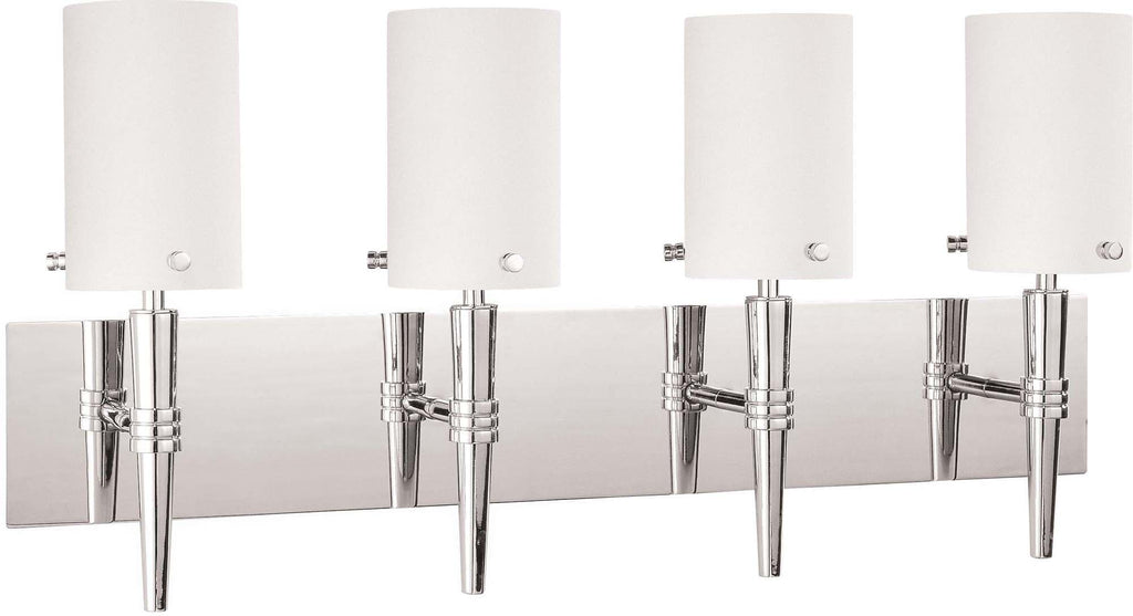 Nuvo Jet ES - 4 Light Wall Vanity w/ Satin White Glass - (4) 13w GU24 Lamps Included