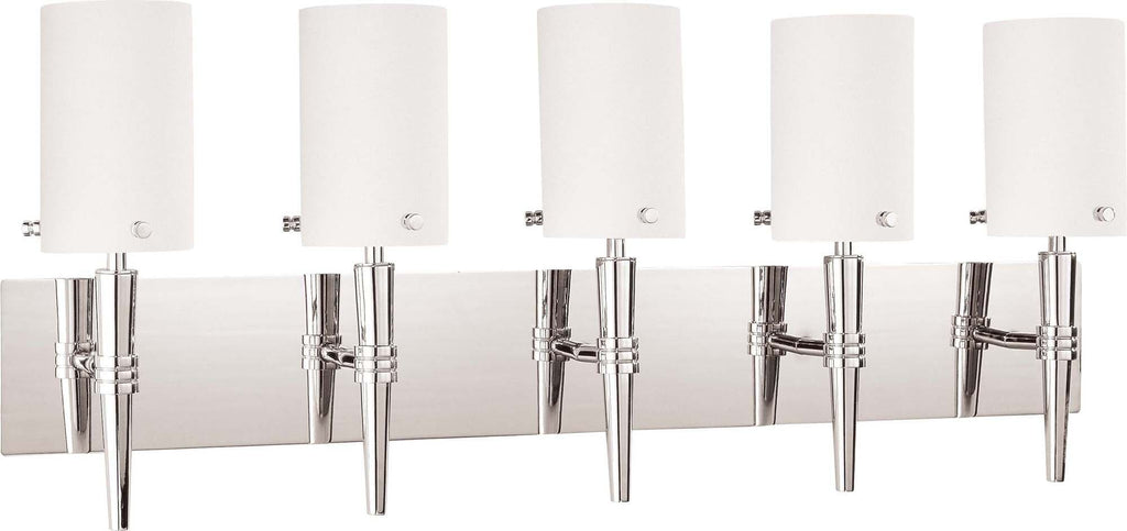 Nuvo Jet ES - 5 Light Wall Vanity w/ Satin White Glass - (5) 13w GU24 Lamps Included