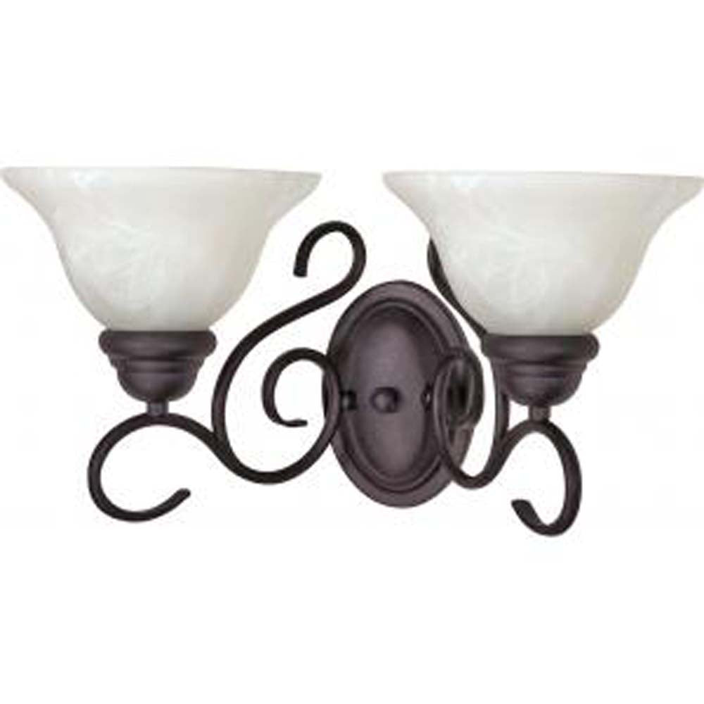 Nuvo Castillo - 2 Light - 18 inch - Wall Fixture - w/ Alabaster Swirl Glass