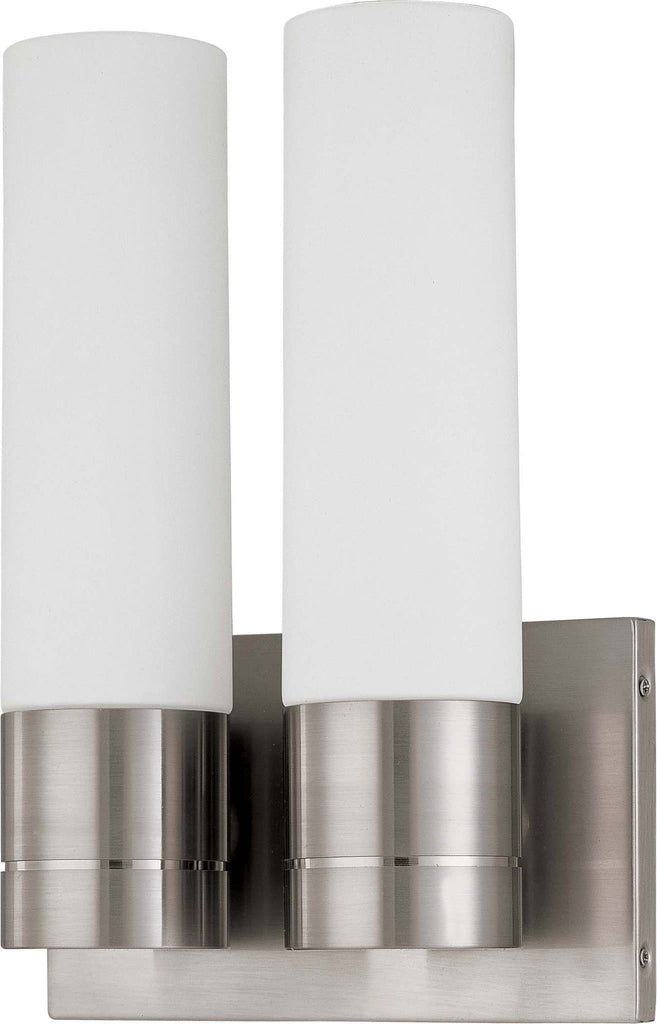 Nuvo Link ES - 2 Light (Twin)Tube Wall Sconce w/ White Glass -  13w GU24 Lamps
