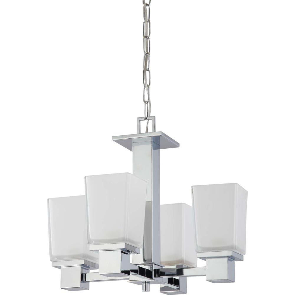 Nuvo Parker - 4 Light Chandelier w/ Sandstone Etched Glass