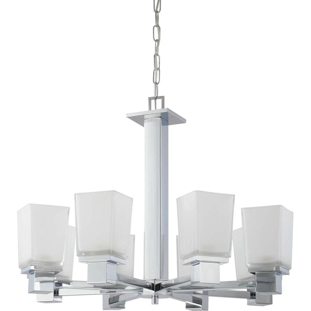 Nuvo Parker - 8 Light Chandelier w/ Sandstone Etched Glass