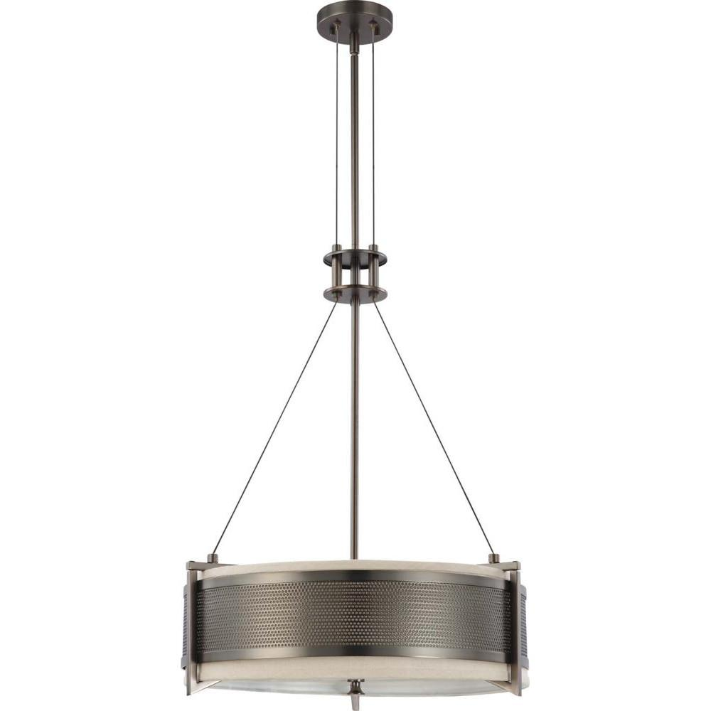 Nuvo Diesel ES - 4 Light Round Pendant w/ Khaki Fabric Shade - (4) 13w GU24 Lamps Included