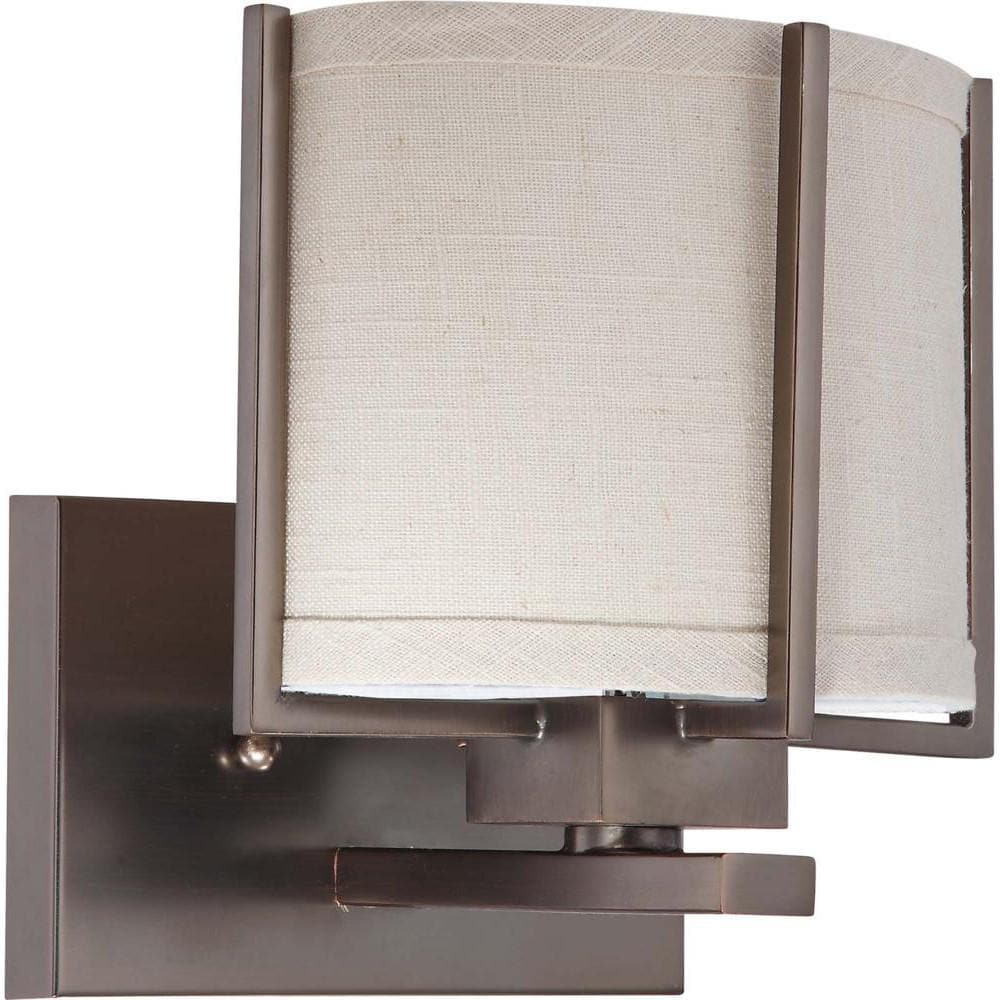 Nuvo Portia ES - 1 Light Vanity w/ Khaki Fabric Shade - (1) 13w GU24 Lamp Included