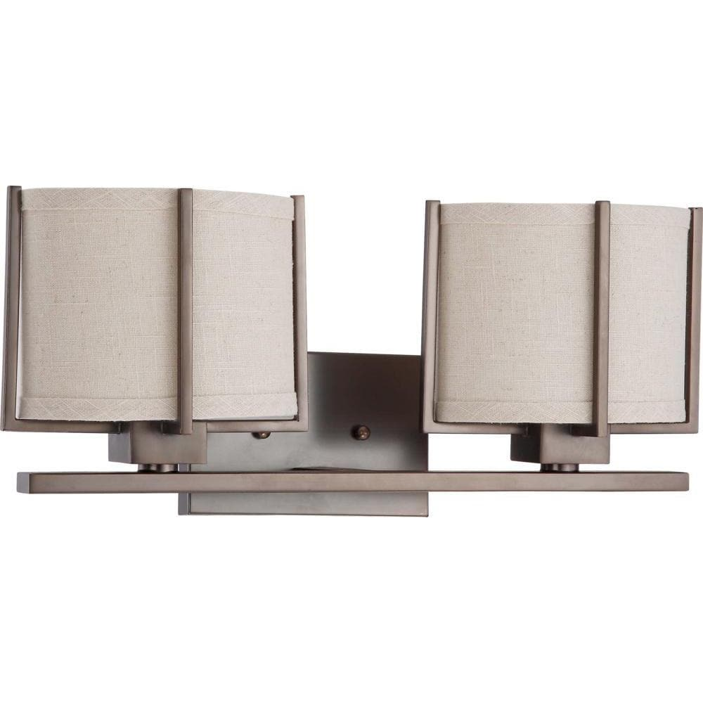 Nuvo Portia ES - 2 Light Vanity w/ Khaki Fabric Shades - (2) 13w GU24 Lamps Included