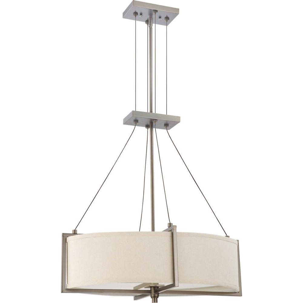 Nuvo Portia ES - 4 Light Oval Pendant w/ Khaki Fabric Shade - (4) 13w GU24 Lamps Included