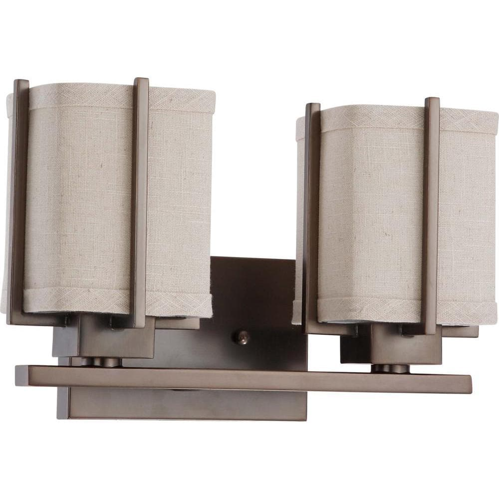 Nuvo Logan ES - 2 Light Vanity w/ Khaki Fabric Shade - (2) 13w GU24 Lamps Included