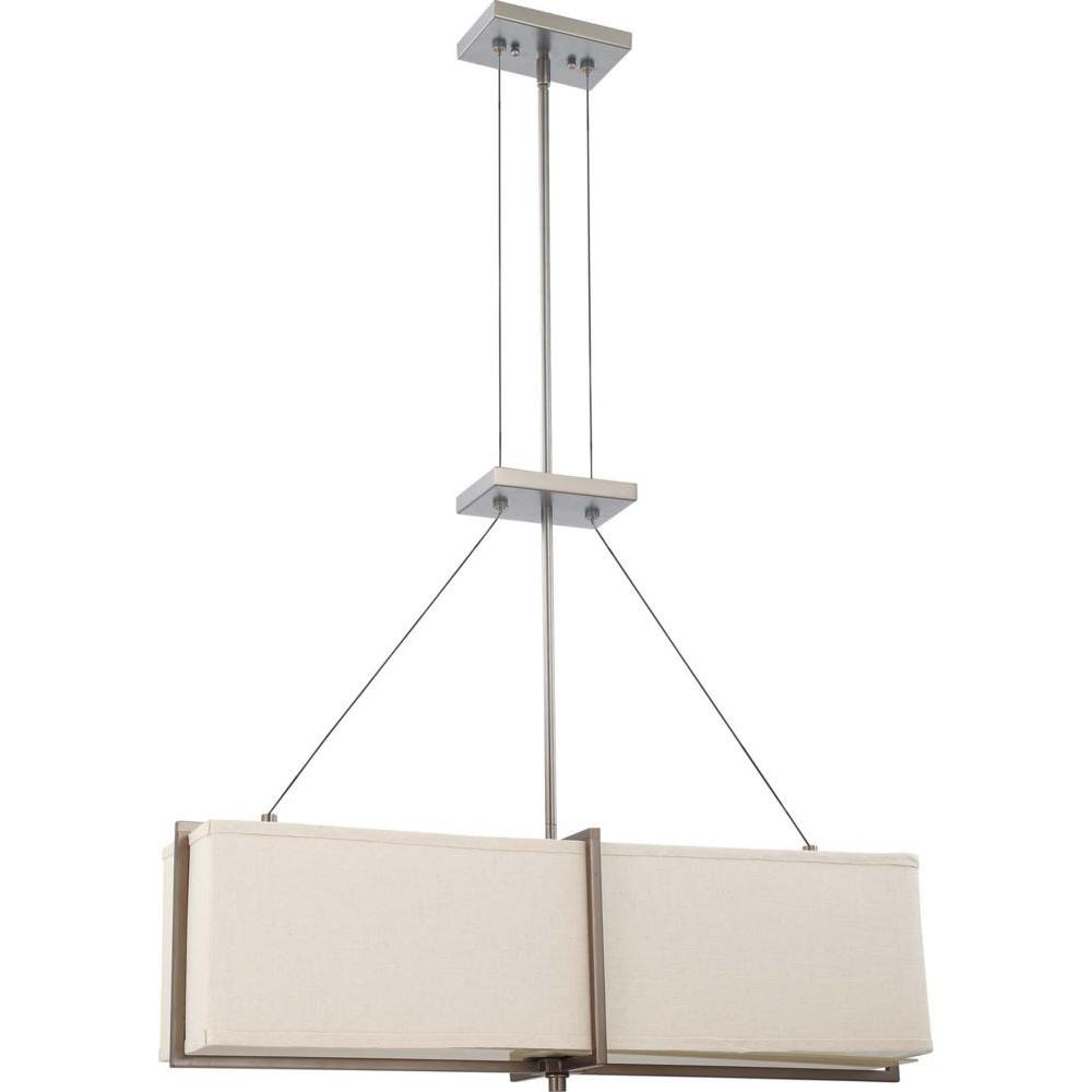 Nuvo Logas ES - 4 Light Square Pendant w/ Khaki Fabric Shade - (4) 13w GU24 Lamps Included