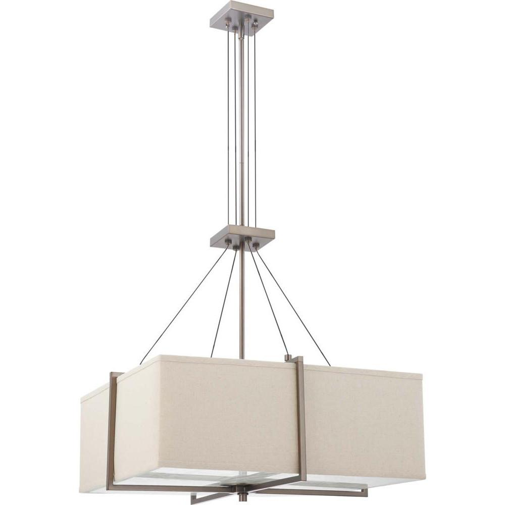 Nuvo Logan ES - 2 Light Square Pendant w/ Khaki Fabric Shade- (2) 13w GU24 Lamps Included