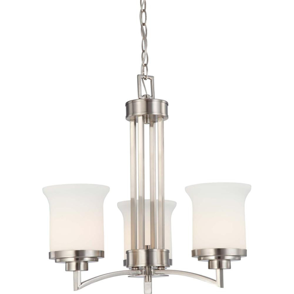 Nuvo Harmony - 3 Light Chandelier w/ Satin White Glass