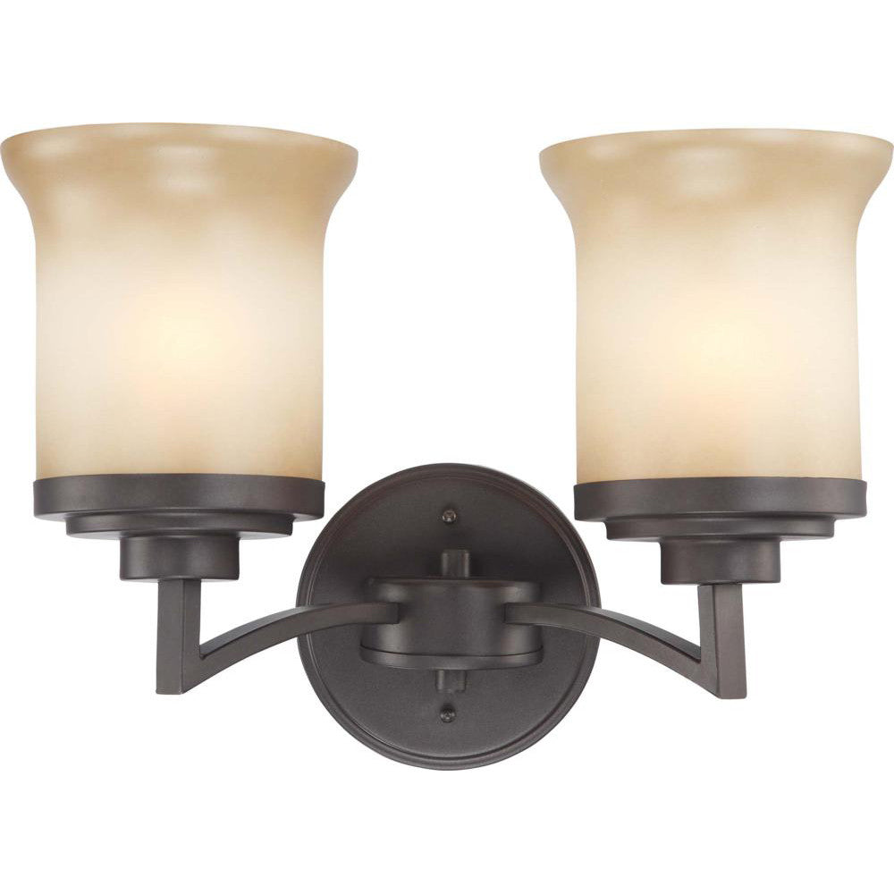 Nuvo Harmony - 2 Light Vanity Fixture w/ Saffron Glass
