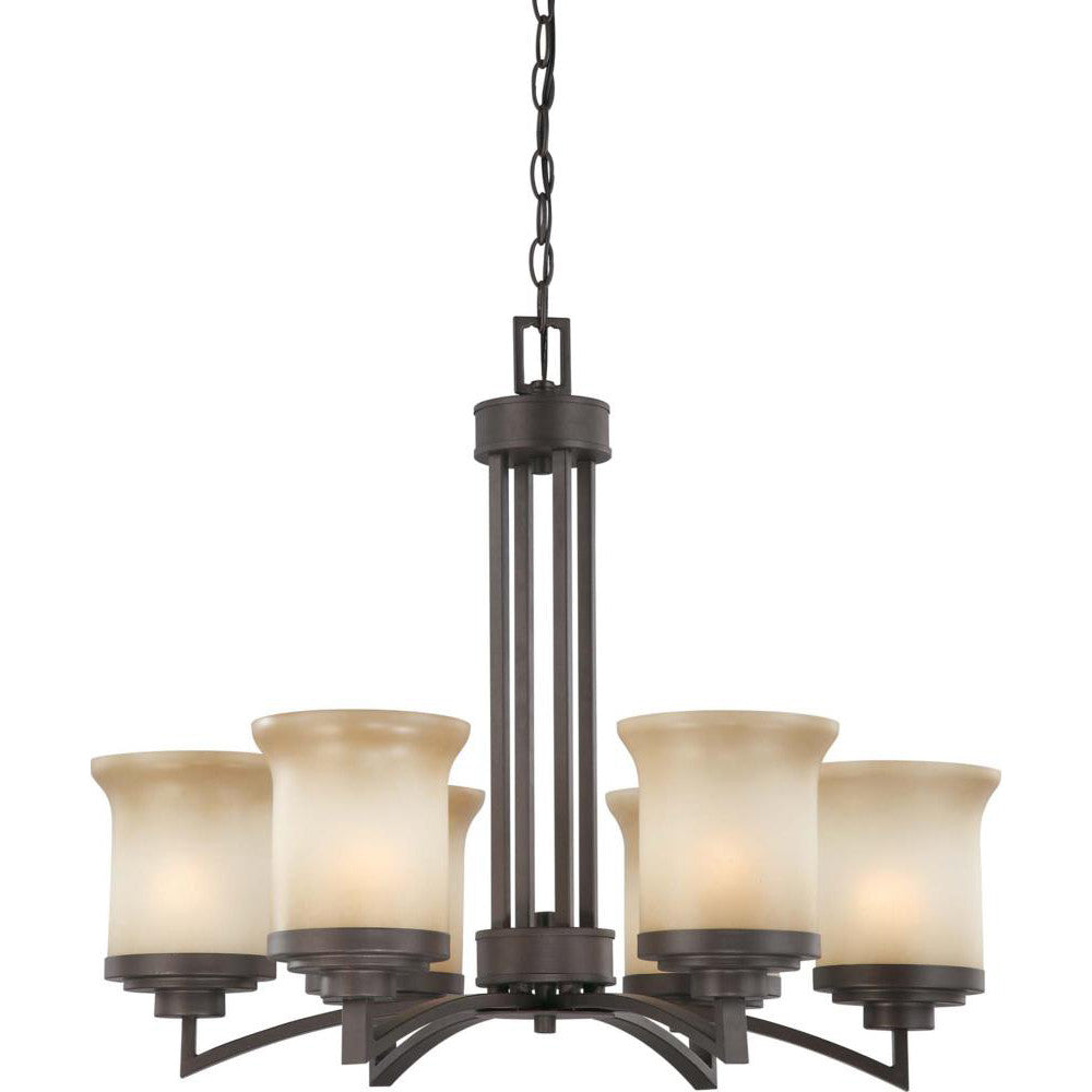 Nuvo Harmony - 6 Light Chandelier w/ Saffron Glass