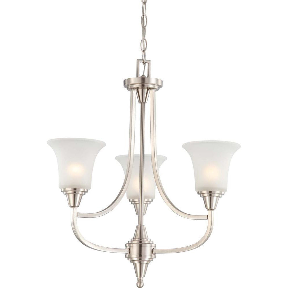 Nuvo Surrey - 3 Light Chandelier w/ Frosted Glass
