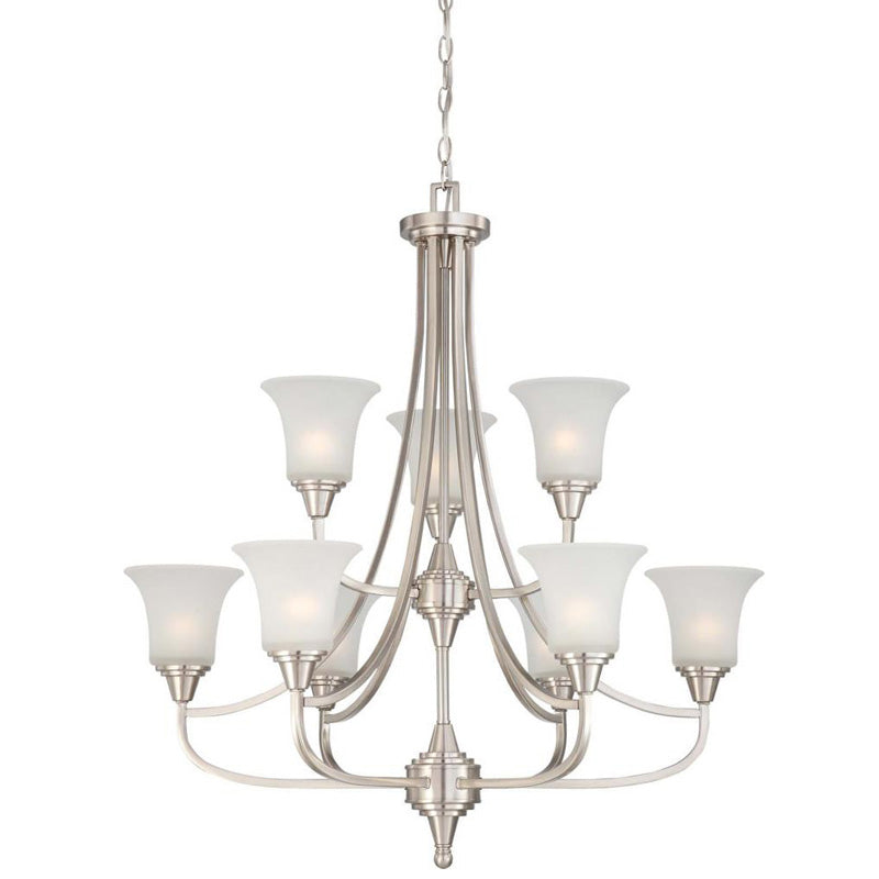 Nuvo Surrey - 9 Light Two Tier Chandelier w/ Frosted Glass