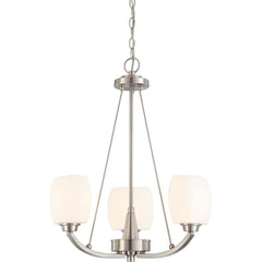 Nuvo Helium - 3 Light Chandelier w/ Satin White Glass