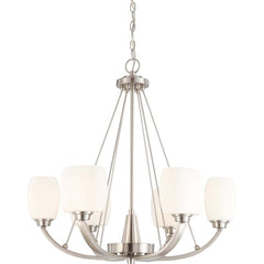 Nuvo Helium - 6 Light Chandelier w/ Satin White Glass