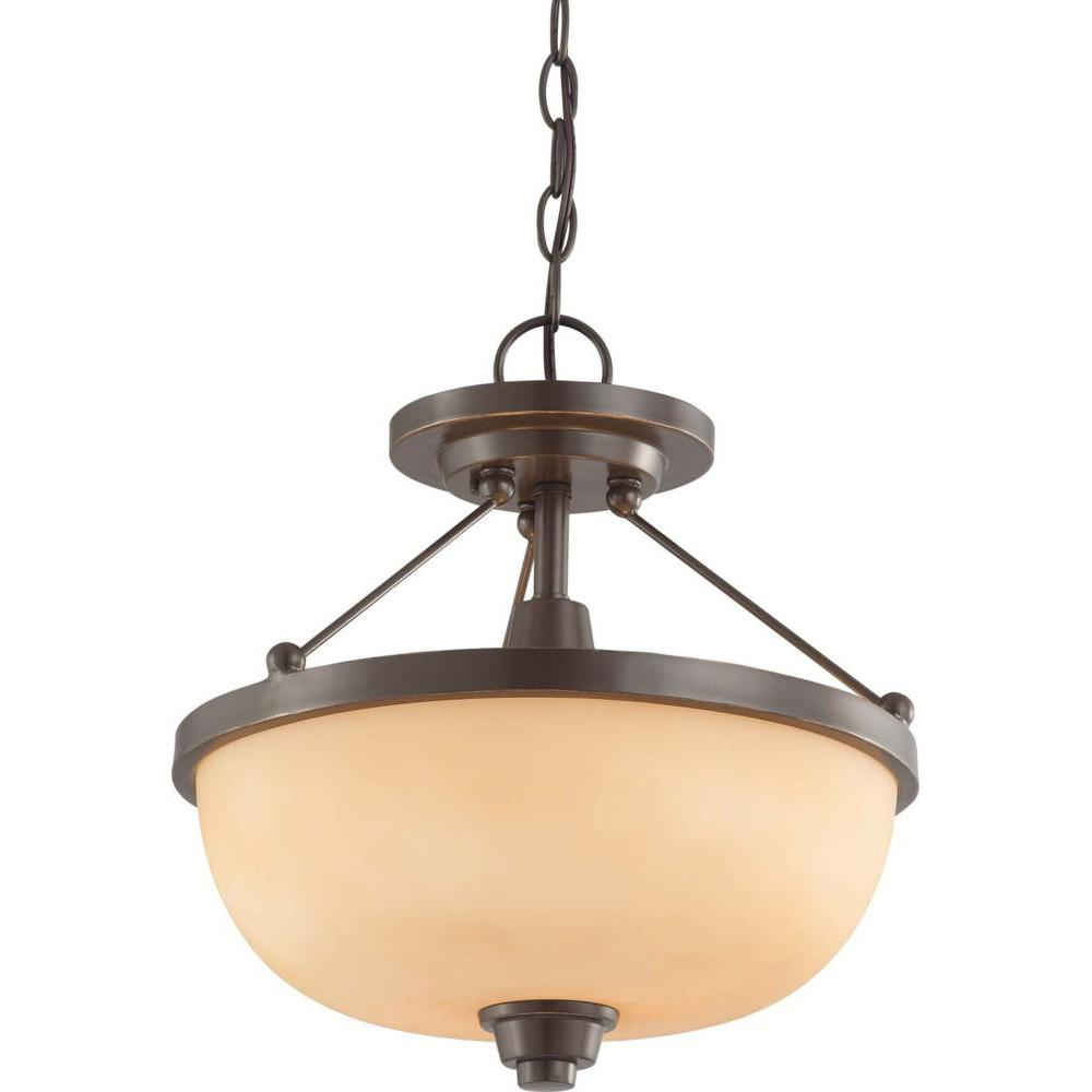 Nuvo Helium - 2 Light Semi Flush Fixture w/ Cream Beige Glass