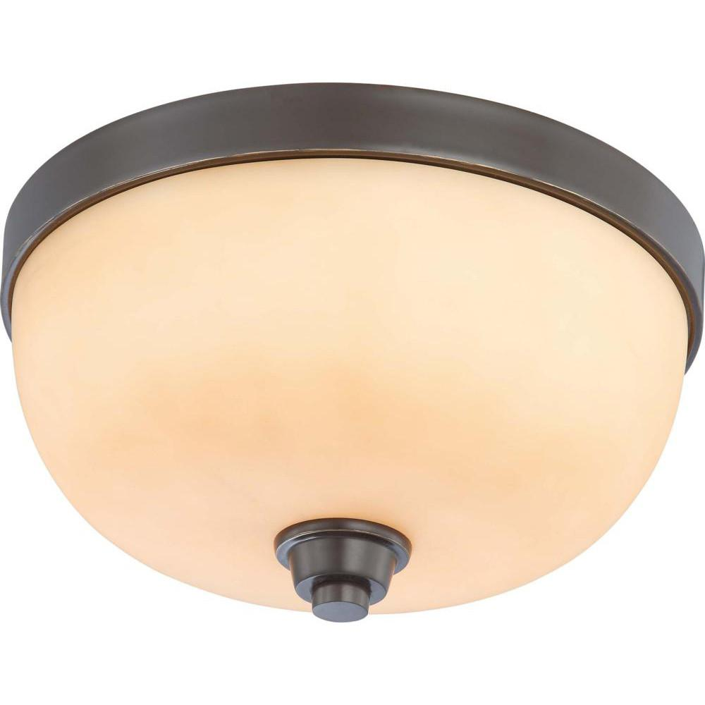 Nuvo Helium - 2 Light Flush Dome Fixture w/ Cream Beige Glass