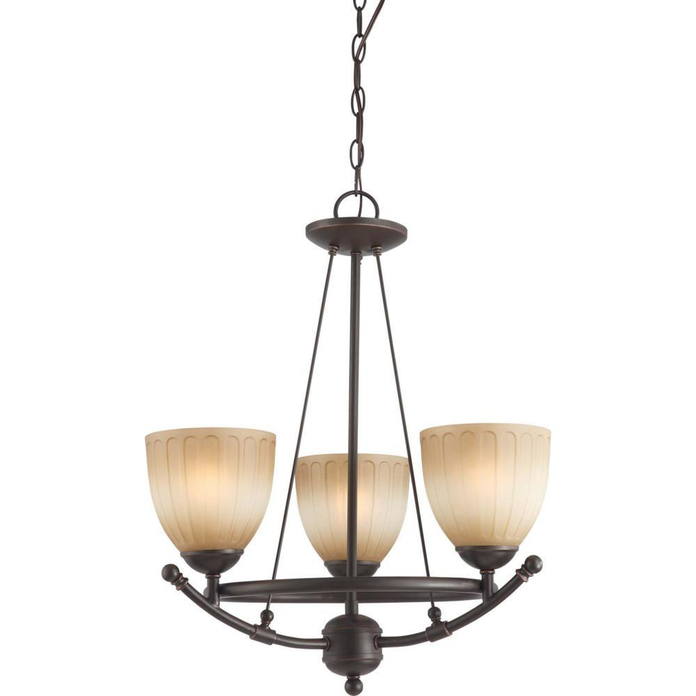 Nuvo Carousel - 3 Light Chandelier w/ Auburn Beige Glass