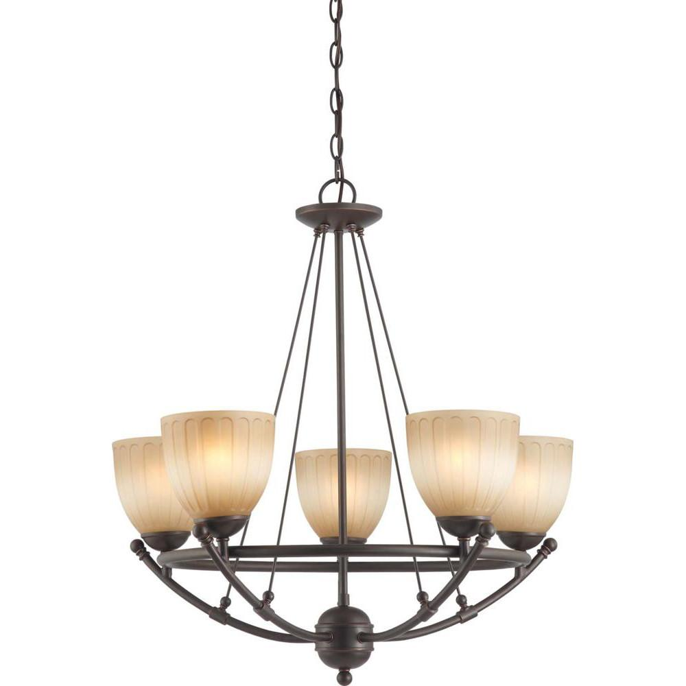 Nuvo Carousel - 5 Light Chandelier w/ Auburn Beige Glass