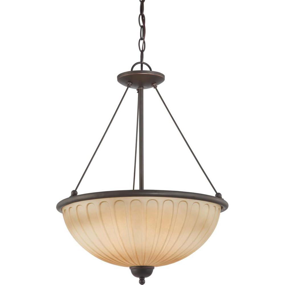 Nuvo Carousel - 3 Light Pendant w/ Auburn Beige Glass