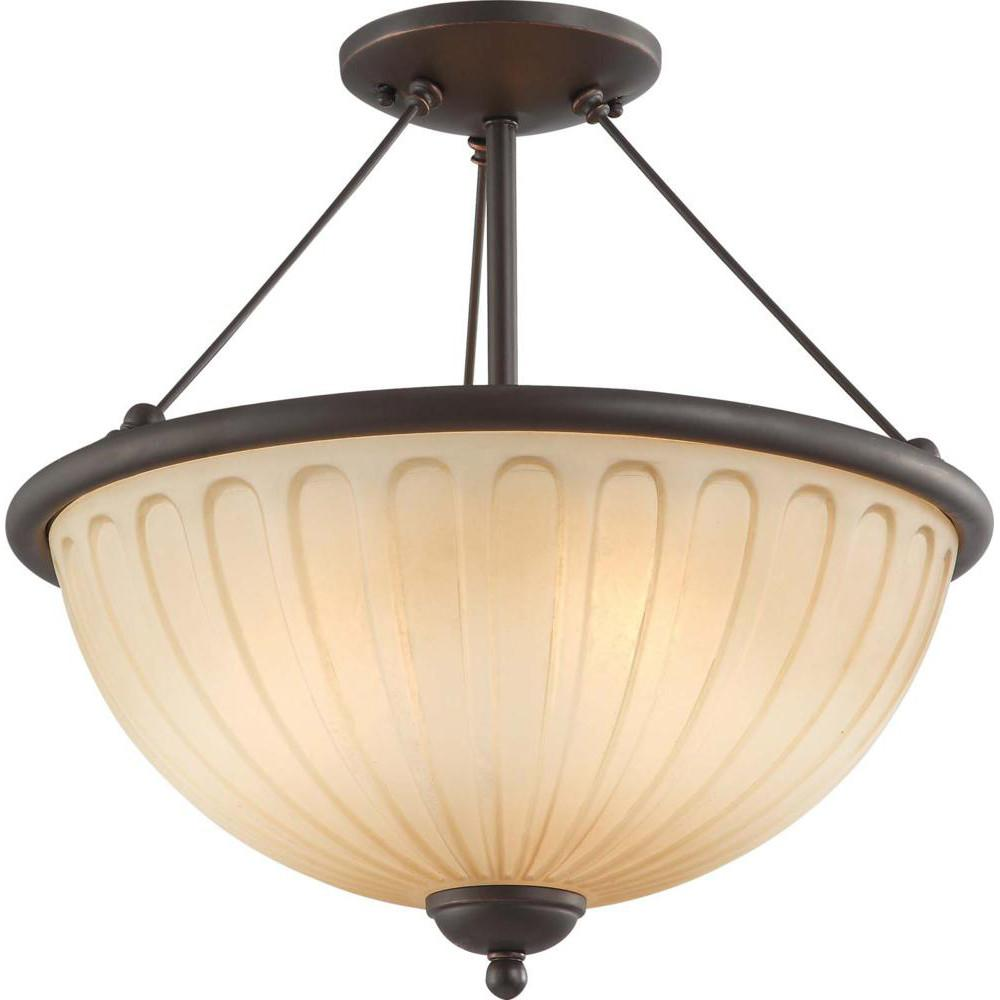 Nuvo Carousel - 3 Light Semi Flush Fixture w/ Auburn Beige Glass
