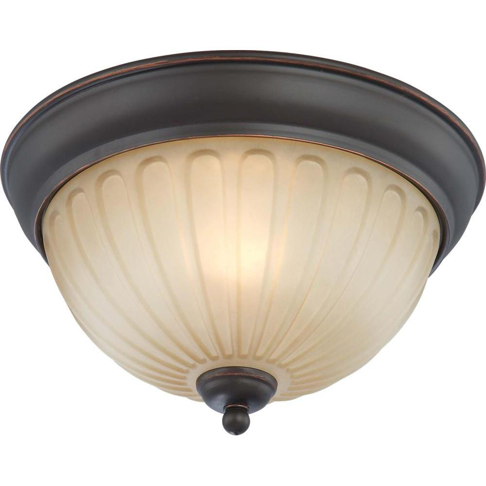 Nuvo Carousel - 1 Light Flush Dome Fixture w/ Auburn Beige Glass