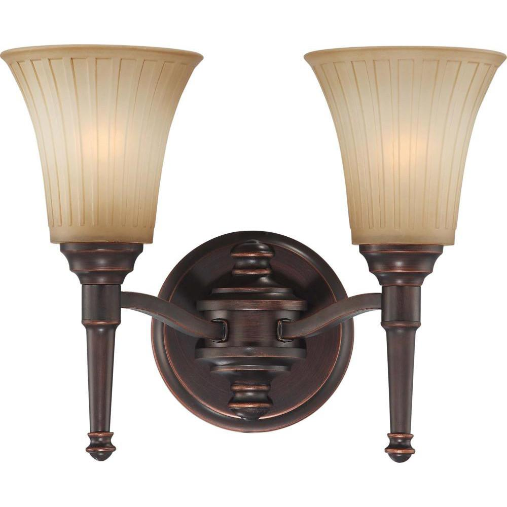 Nuvo Franklin - 2 Light Vanity Fixture w/ Sienna Glass