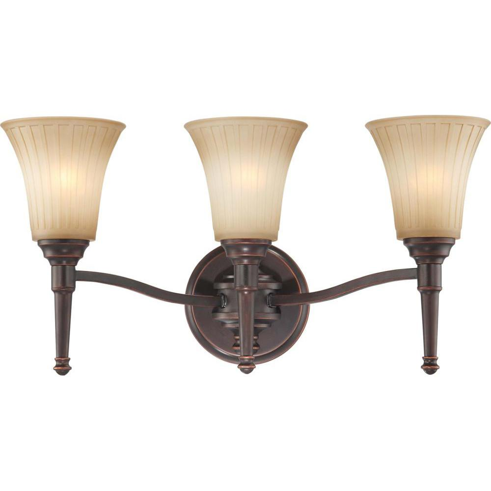 Nuvo Franklin - 3 Light Vanity Fixture w/ Sienna Glass