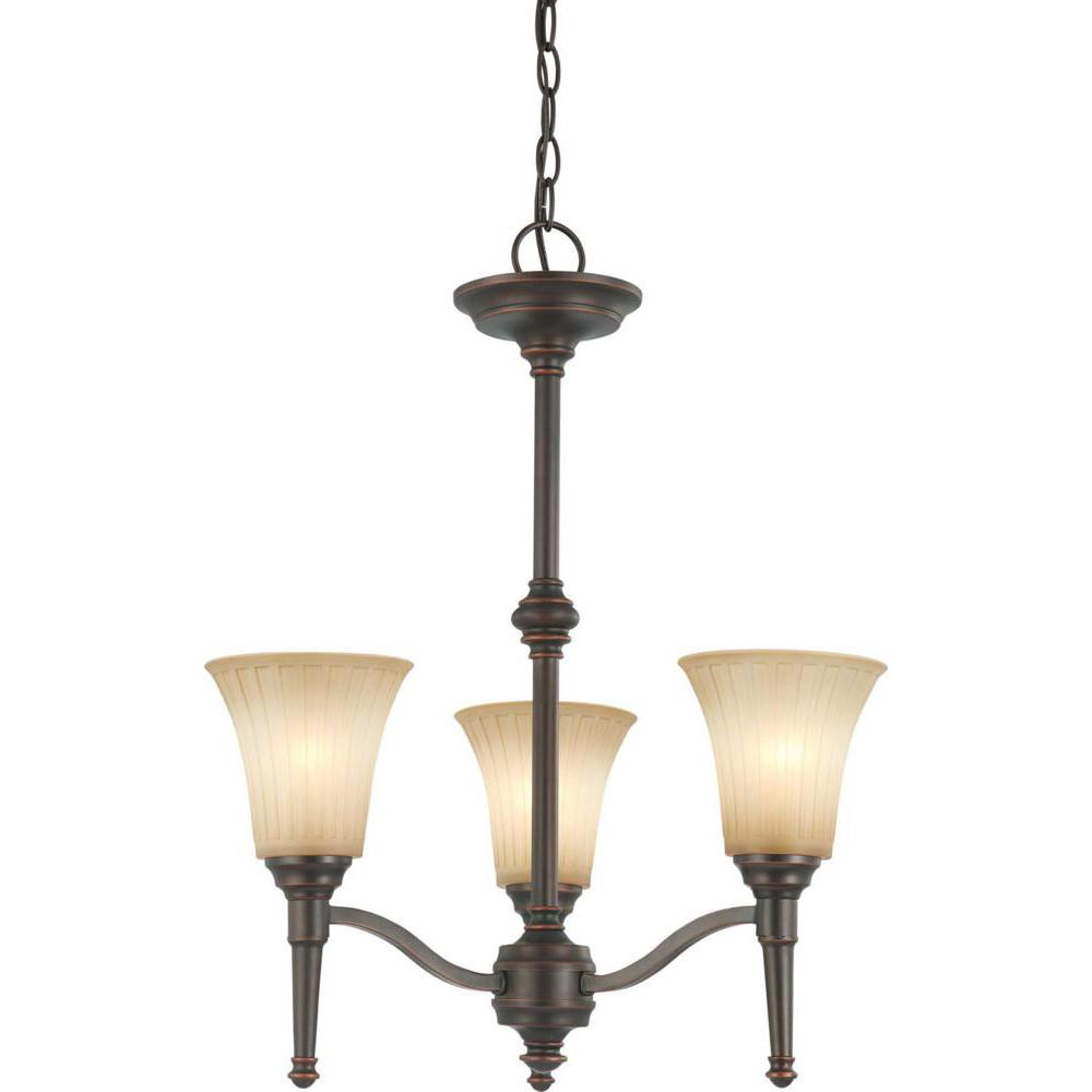 Nuvo Franklin - 3 Light Chandelier w/ Sienna Glass