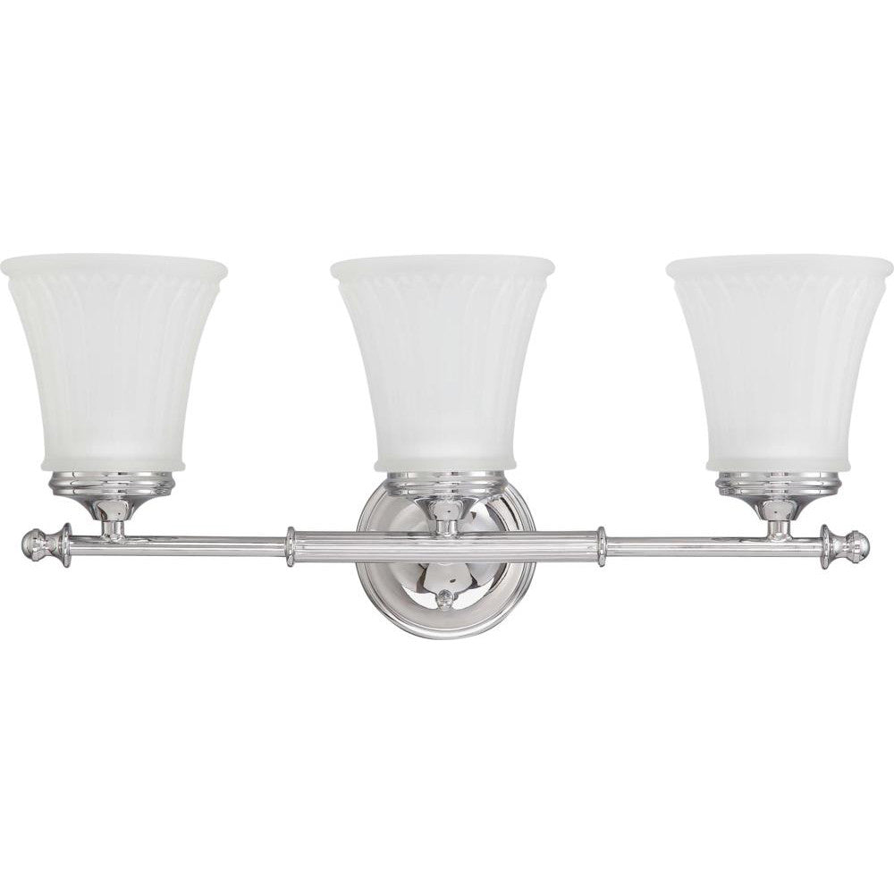 Nuvo Teller - 3 Light Vanity Fixture w/ Frosted Etched Glass