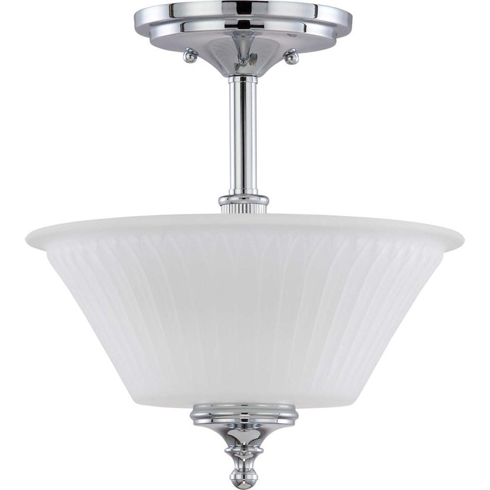 Nuvo Teller - 2 Light Semi Flush Fixture w/ Frosted Etched Glass