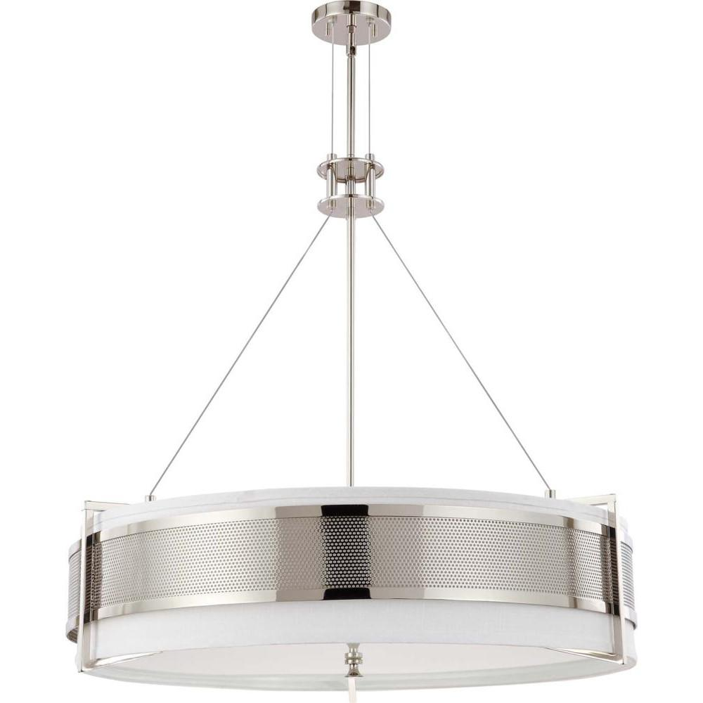 Nuvo Diesel ES - 6 Light Round Pendant w/ Slate Gray Fabric Shade - (6) 13w GU24 Lamps Incl.