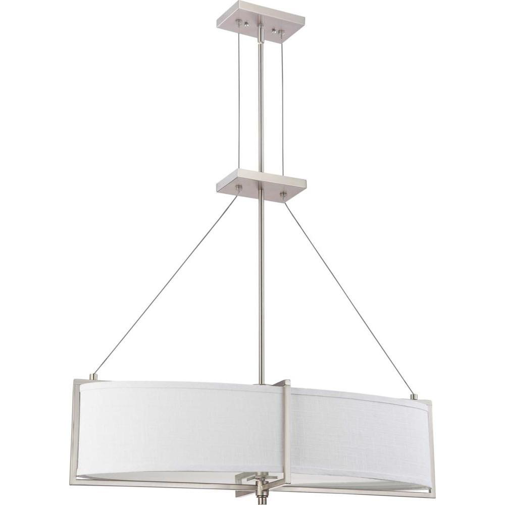 Nuvo Portia ES - 4 Light Oval Pendant w/ Slate Gray Fabric Shades - (4) 13w GU24 Lamps Incl.