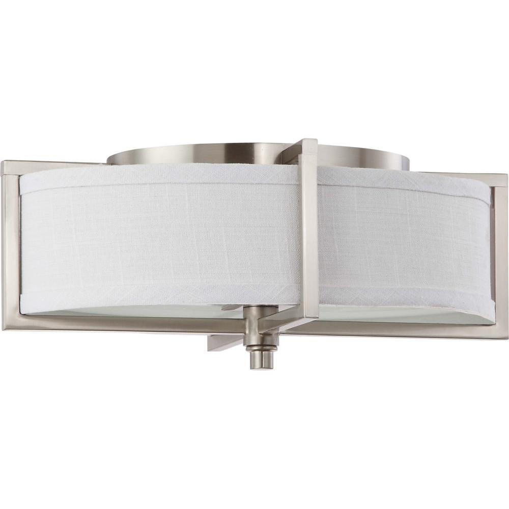 Nuvo Portia ES - 2 Light Oval Flush w/ Slate Gray Fabric Shade - (2) 13w GU24 Lamps Included