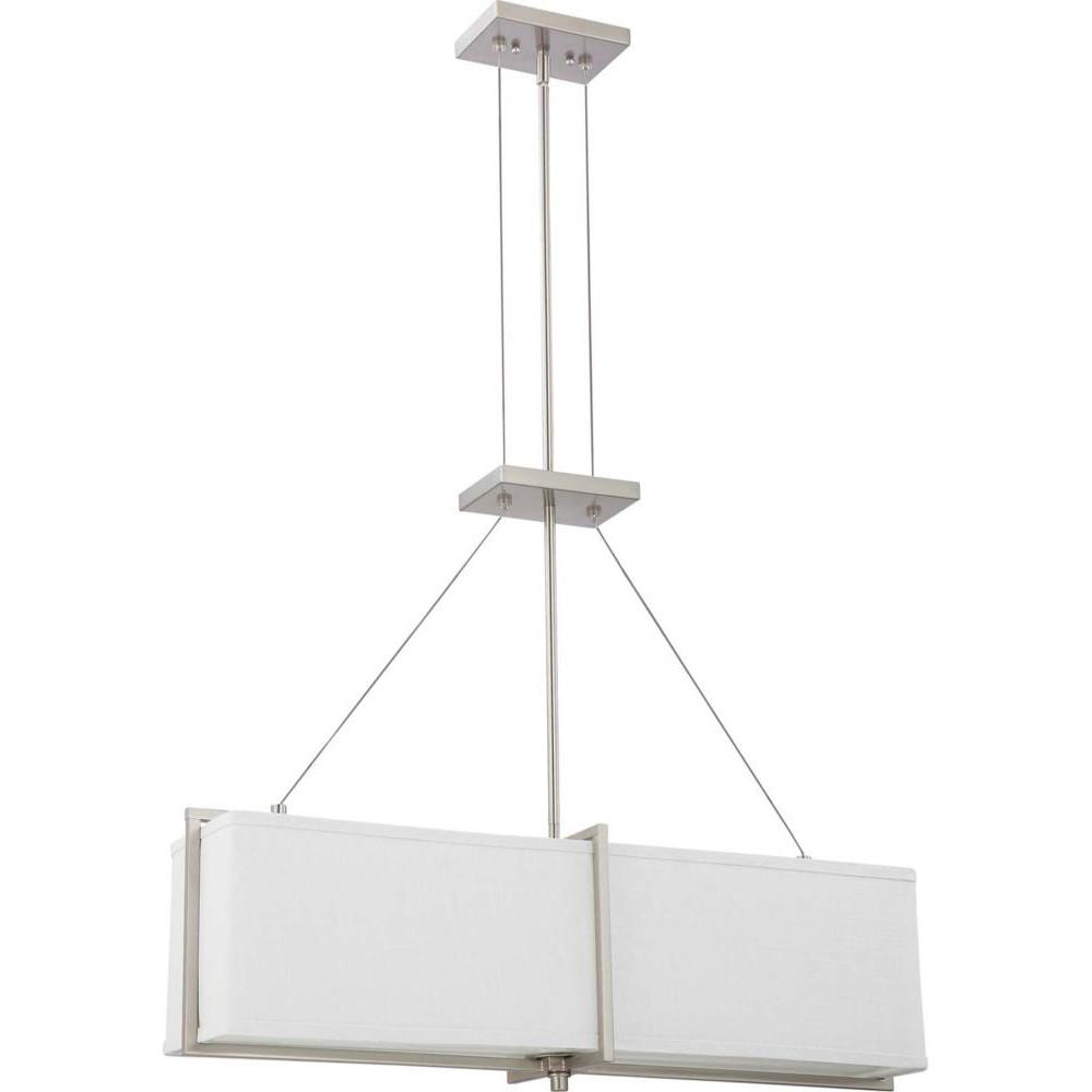Nuvo Logas ES - 4 Light Square Pendant w/ Slate Gray Fabric Shade - (4) 13w GU24 Lamps Incl.