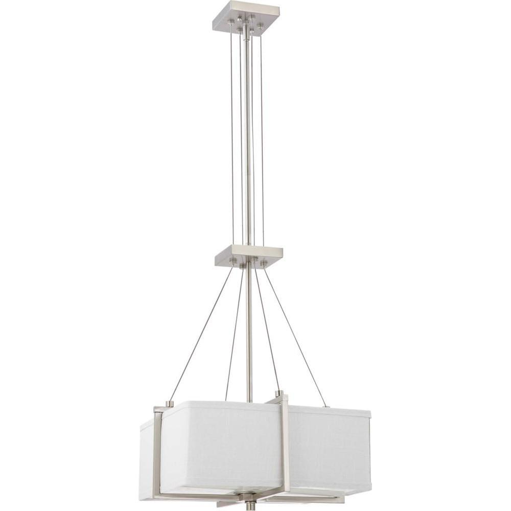 Nuvo Logan ES - 2 Light Square Pendant w/ Slate Gray Fabric Shade- (2) 13w GU24 Lamps Incl.