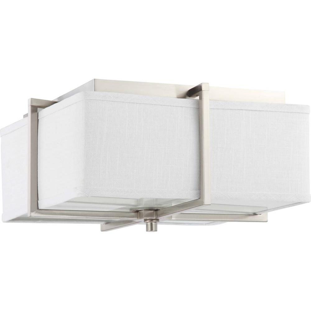 Nuvo Logas ES - 2 Light Square Flush w/ Slate Gray Fabric Shade - (2) 13w GU24 Lamps Incl.