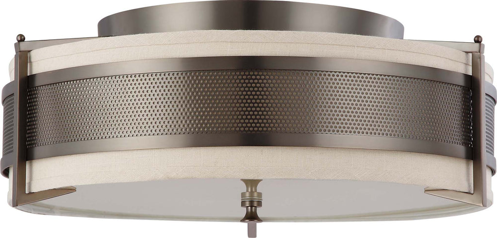 Nuvo Diesel - 4 Light Large Flush w/ Khaki Fabric Shade
