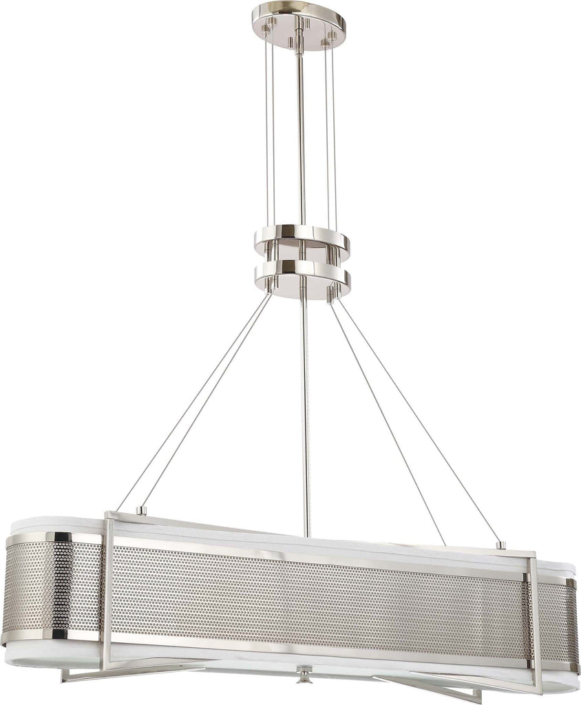 Nuvo Diesel - 4 Light Island Pendant w/ Slate Gray Fabric Shades