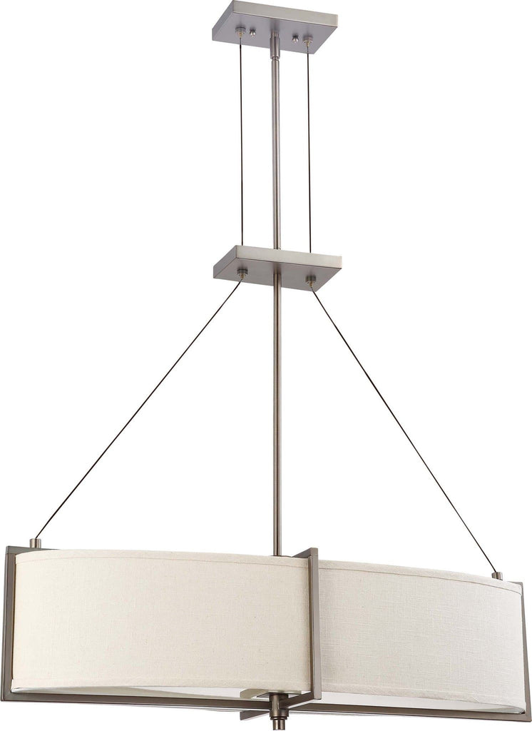 Nuvo Portia - 4 Light Oval Pendant w/ Khaki Fabric Shades