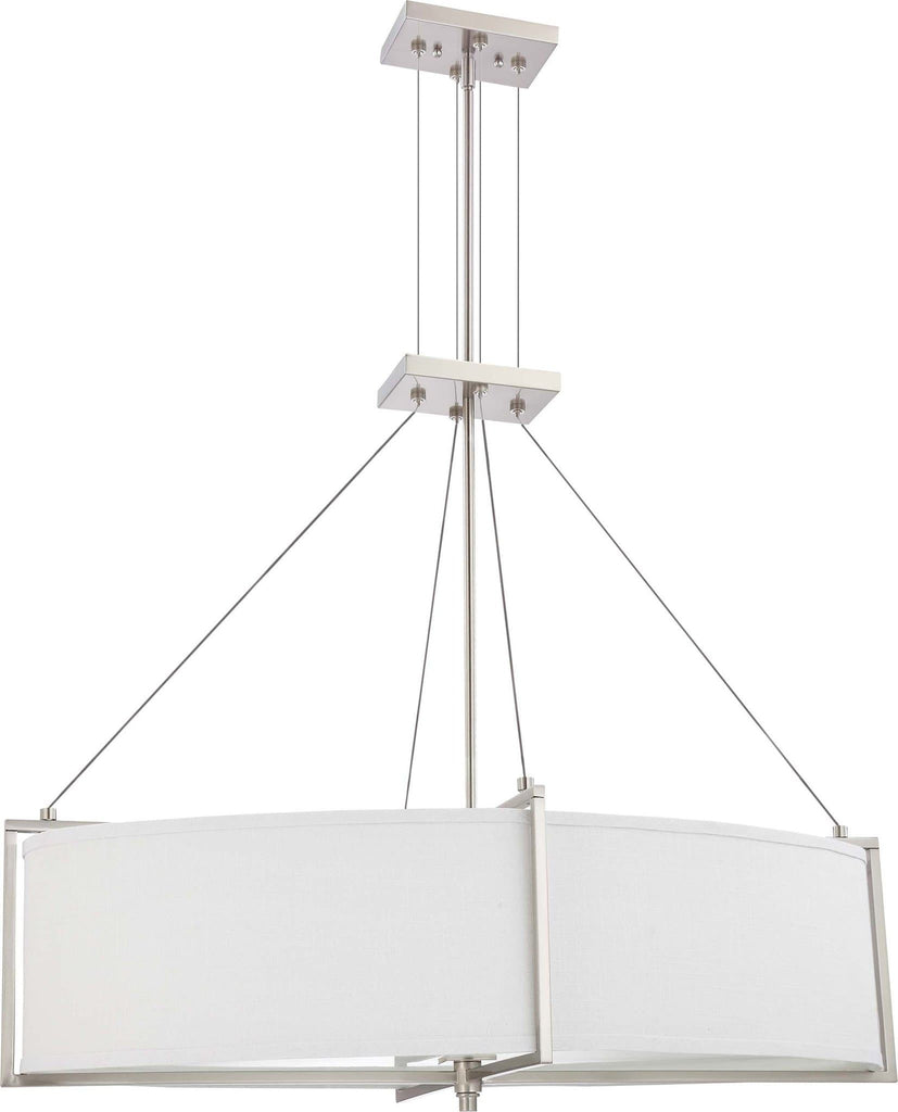 Nuvo Portia - 4 Light Oval Pendant w/ Slate Gray Fabric Shade