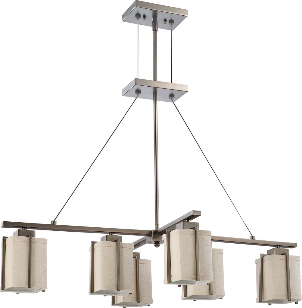Nuvo Logan - 6 Light Island Pendant w/ Khaki Fabric Shade
