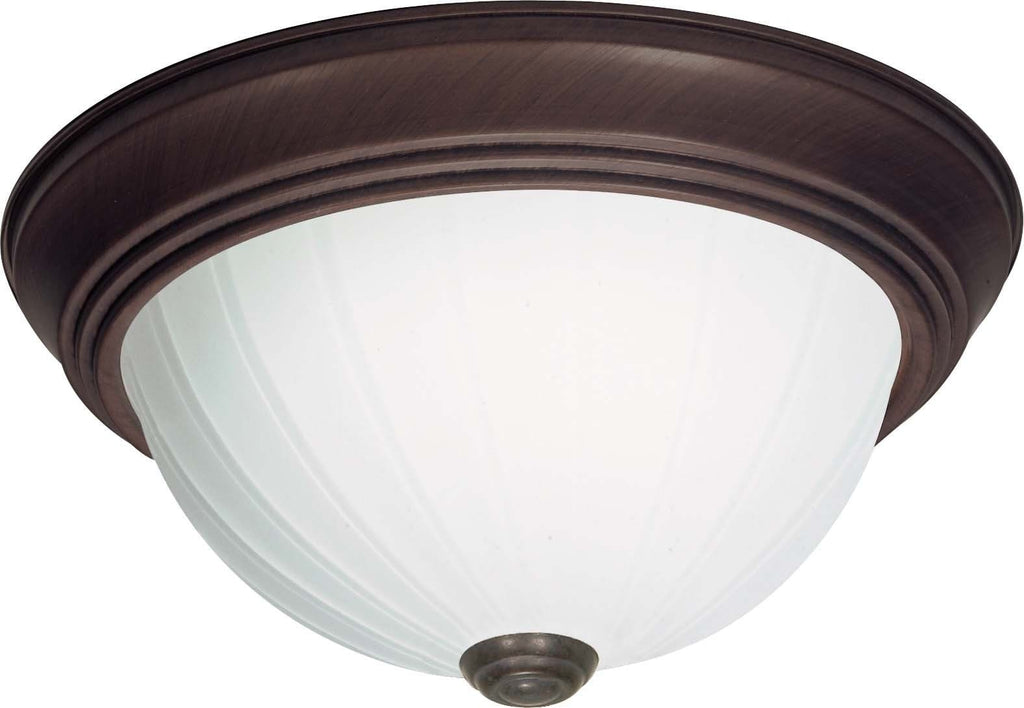 Nuvo 3 Light Cfl - 11 inch - Flush Mount - Frosted Melon Glass - (2) 13W GU24 Lamps Included