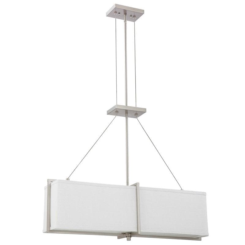 Nuvo Logan - 4 Light Square Pendant w/ Slate Gray Fabric Shade